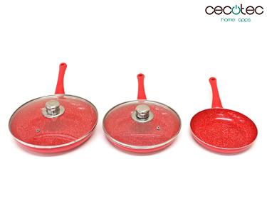 Conjunto de Frigideiras Vermelhas em Granito e Tampas | Cecotec®