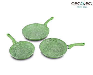 Conjunto de Frigideiras Verdes em Granito + Tampas | Cecotec®