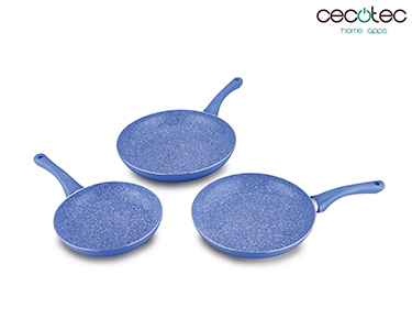 Conjunto de Frigideiras Azuis em Granito   Cecotec®