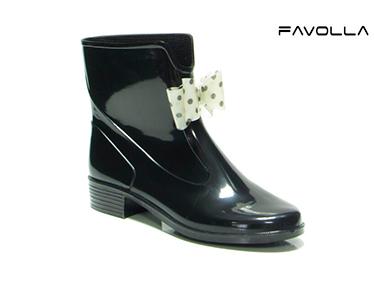 Galochas Favolla® 104 c/ Laço | Preto e Branco