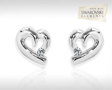 Brincos Corazón | Prata Maciça & Swarovski Elements®