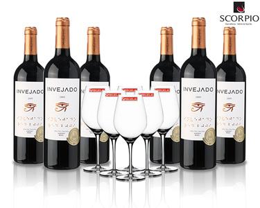 6 Garrafas de Vinho Tinto Invejado D.O.C + 6 Copos
